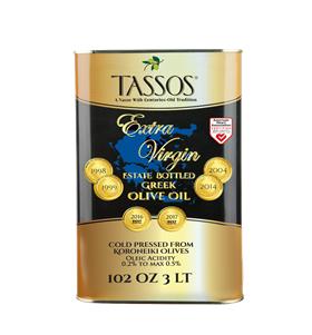 Extra Virgin Estate Bottled Greek Olive Oil, 3L Tin