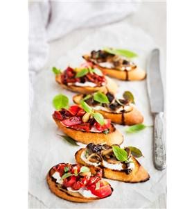Roasted Pepper, Olive and Goat Cheese Crostini